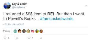 When Powell's Books likes your tweet...